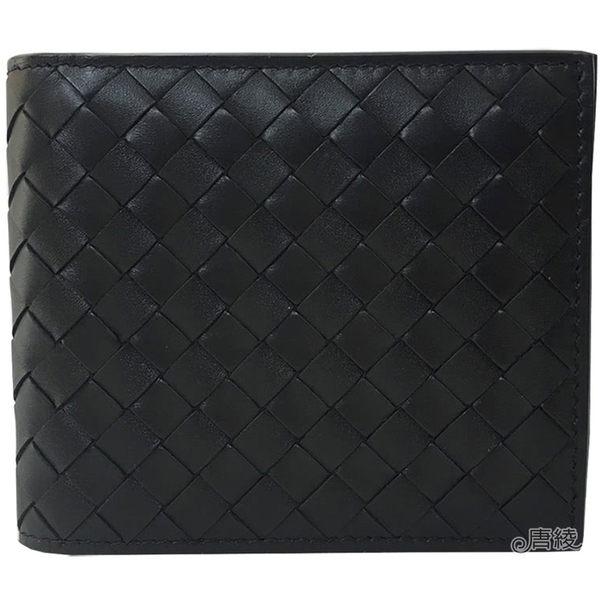 【BOTTEGA VENETA】113993 經典編織小羊皮中性8卡短夾(黑)