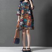棉麻藝術風印花洋裝-中大尺碼 獨具衣格 J3801