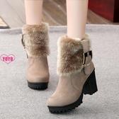 裸靴 短靴女 圓頭 粗跟 加絨 靴子 短筒 保暖 女靴