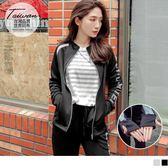 《KS0210》台灣品質.世界同布~拼色印字袖套式抗UV立領外套 OrangeBear