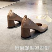春秋方頭單鞋粗跟高跟鞋裸粉色中跟淺口奶奶鞋復古軟皮小皮鞋工作 居家物語