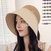 夏季新款漁夫帽子女防曬水桶盆帽百搭時尚沙灘度假遮臉太陽帽草帽
