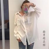 防曬襯衫女韓版中長款寬鬆薄款透視棉麻上衣夏季白色長袖襯衣外套