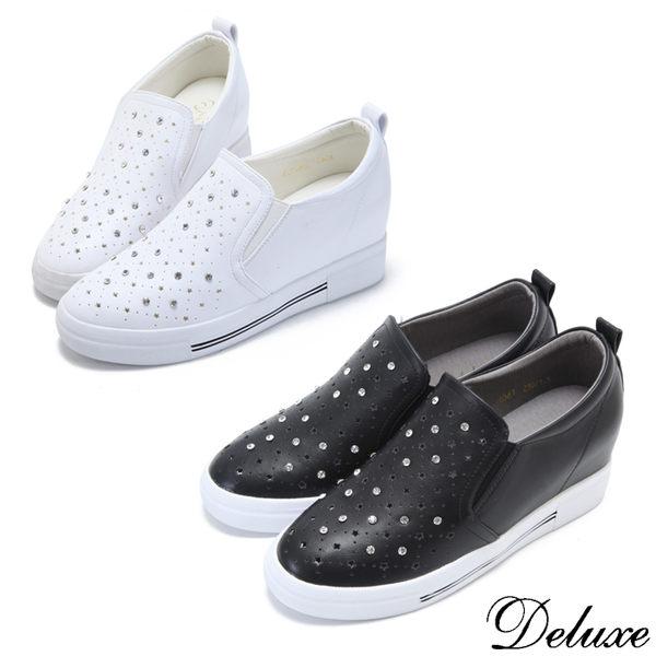 【Deluxe】來自星星的你-星型鏤空水鑽韓流休閒鞋(黑-白)