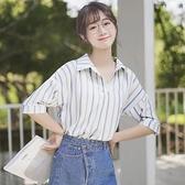 帛卡琪2021新款拼色豎條紋短袖雪紡襯衫女學生寬鬆v領半袖上衣夏 「雙10特惠」