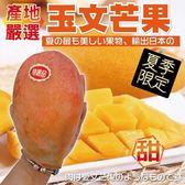 【果之蔬-全省免運】台灣嚴選玉文芒果X1箱(10斤±10%含箱重/約7-9顆)