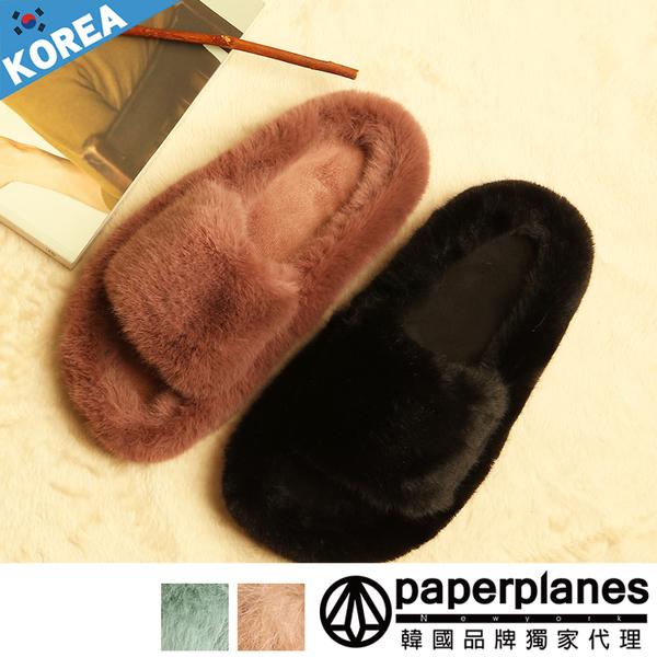 PAPERPLANES紙飛機 韓國空運 版型正常 高質感柔軟蓬鬆真兔毛 寬帶款 舒適平底拖鞋【B7909822S】4色