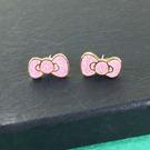 【震撼精品百貨】Hello Kitty 凱蒂貓~耳環-粉蝴蝶結造型