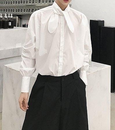 FINDSENSE H1 2018 新款 簡約文藝 系領結  長袖 襯衫 潮流