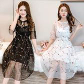 2018夏季女清新刺繡套裝花朵蕾絲顯瘦洋裝  ys359『毛菇小象』