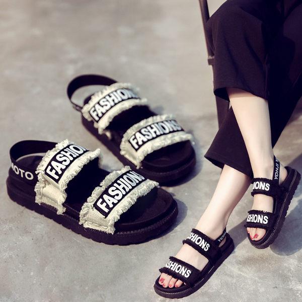 運動涼鞋女夏季平底鬆糕厚底休閒學生沙灘鞋