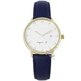 【台南 時代鐘錶 agnes b.】B4A004J1 手寫風 數字 皮革錶帶女錶 33mm 白/藍 VJ12-KY40B