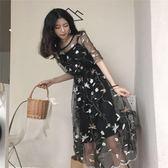 新款刺繡網紗 內搭吊帶兩件套洋裝仙女裙chic風時髦套裝女 【korea時尚記】
