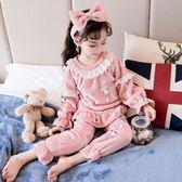 女童珊瑚絨睡衣秋冬款兒童法蘭絨小童女孩家居服套裝加厚寶寶公主 任選一件享八折