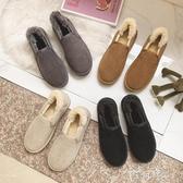 冬季懶人保暖棉鞋男女情侶款學生低幫淺口面包鞋一腳蹬加絨雪地靴 盯目家