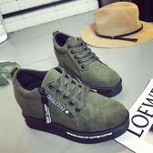 內增高坡跟單鞋 厚底休閒運動鞋 側拉鏈低幫棉鞋