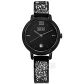 NATURALLY JOJO / JO96942-88F / 優雅迷人 藍寶石水晶玻璃 閃耀晶鑽 日期 不鏽鋼手錶 黑色 30mm