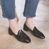 單鞋女百搭復古方頭粗跟黑色小皮鞋漆皮套腳低跟鞋潮 盯目家