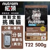 *KING WANG*紐頓 無穀全能-貓糧T22火雞配方500g【分裝體驗包(真空包)】
