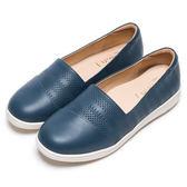 DIANA 隨性演繹--刻印質感真皮平底休閒鞋-藍★特價商品恕不能換貨★