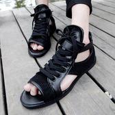 魚嘴涼鞋夏季韓版潮流男士羅馬涼鞋 英倫個性潮涼鞋 潮男沙灘時尚魚嘴涼鞋 伊蘿鞋包