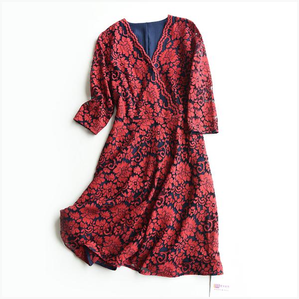 [超豐國際]W    嫵媚 花朵鉤花 蕾絲連衣裙 女  F7