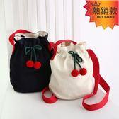 水桶包 romane韓國創意可愛櫻桃抽繩束口水桶包女休閒棉帆布單肩包斜背包『快速出貨』