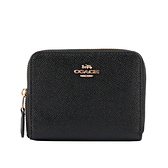 【COACH】專櫃款素面防刮皮革ㄇ形拉鍊零錢袋短夾(黑色) 29677 LIBLK
