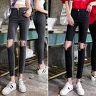 韓版黑色牛仔褲女高腰緊身新款春秋顯瘦九分灰色破洞小腳褲女 蘑菇街小屋
