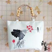 手繪單肩包中國風民族風挎包時尚休閒手繪包手工女包【好康推薦】