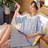 睡衣女夏季睡裙棉質短袖寬鬆長款可愛大碼學生甜美簡約新款可外穿「時尚彩紅屋」