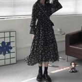 泡泡袖洋裝 法式復古V領長袖碎花裙收腰女裝裙子秋冬長款氣質溫柔洋裝