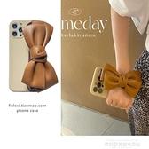 棕色腕帶iphone13手機殼xsmax蝴蝶結11蘋果12保護套8plus硅膠軟殼7p高檔女款6plus時尚氣質適用xr/xs套個性