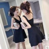 M-夜店女裝V領性感無袖韓版收腰荷葉邊顯瘦露背女連衣裙2018新款夏