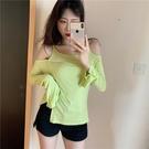 限時特價 韓版小眾純色設計感小心機T恤年秋季新款性感露肩百搭上衣女