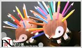 『ART小舖』捷克KOH-I-NOOR 手工木製可愛刺蝟造型筆筒【原木色】附24支油性彩色鉛筆