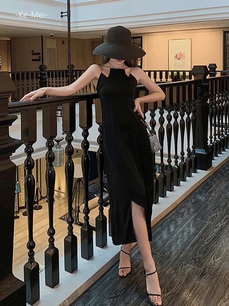 克妹Ke-Mei【AT69234】KOREA復古名媛感不規則肩帶開叉長洋裝