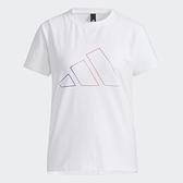 Adidas FUTURE 女裝 短袖 T恤 彩色線條LOGO 側開衩 棉質 白【運動世界】GP0673