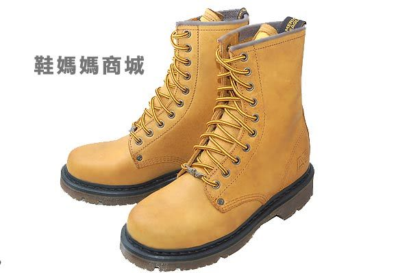 【鞋媽媽】[男女]AE小麥色10孔馬丁鞋*真皮*防滑*ae164