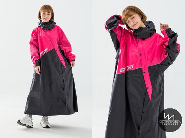『快速出貨』奧德蒙戶外機能特仕-終結者斜開專利連身式雨衣-桃紅