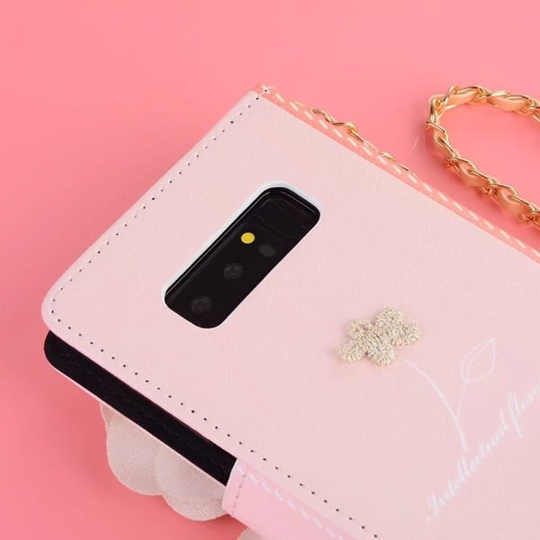 送吊飾 三星 Note5 Note4 雙色立體玫瑰 皮套 碎花 韓系 手機殼 插卡 軟殼 保護套
