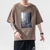 薄款印花亞麻短袖T恤男士夏季日系大碼潮流圓領棉麻寬鬆上衣體恤 聖誕節免運