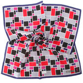 YSL 滿版幾何塊狀純棉帕巾(藍色/桃紅色)930007-4
