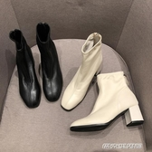 短靴女春秋單靴新款百搭時尚高跟及踝靴粗跟英倫風網紅馬丁靴(免運快出)