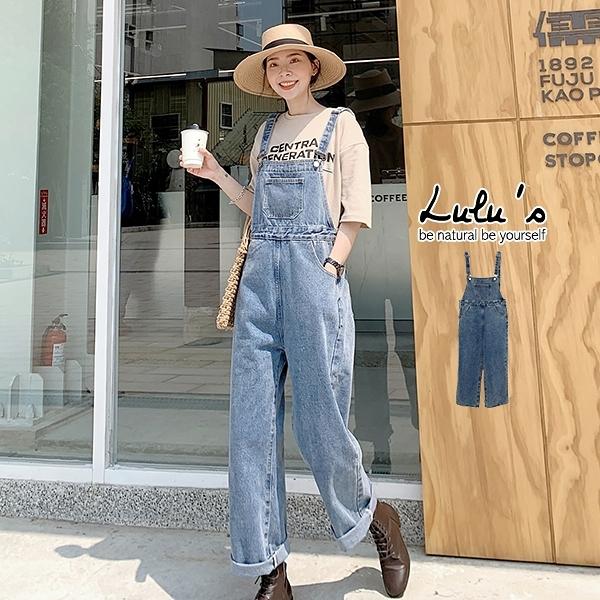 LULUS【A04210032】K刷舊大口袋牛仔吊帶褲藍