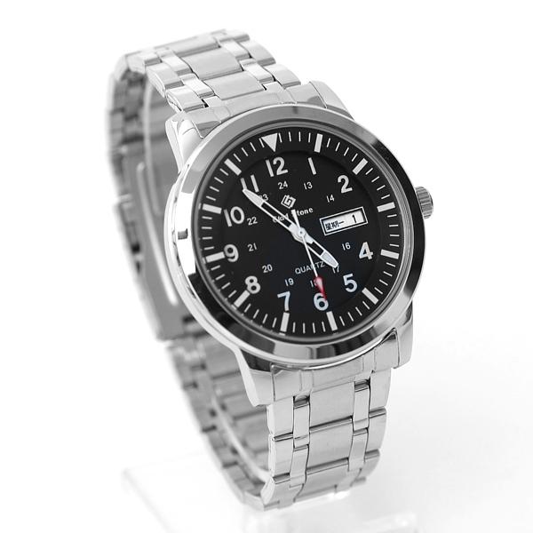 搭載SEIKO機芯亮銀色黑面手錶NE2041