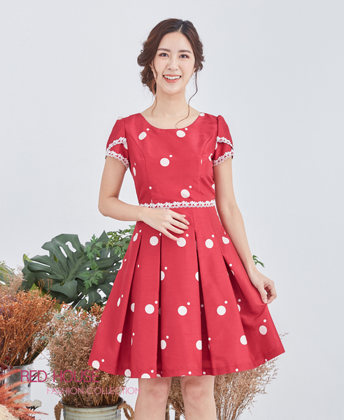 【RED HOUSE 蕾赫斯】大小點蕾絲洋裝(共2色)