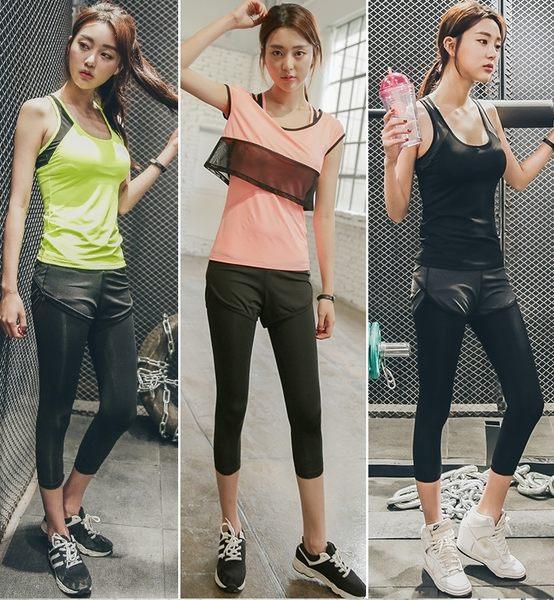韓國夏季新款瑜伽服套裝背心女假兩件七分褲健身服運動跑步服  - lxy00107