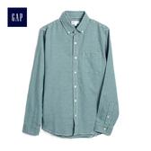 Gap男裝 簡約格子長袖襯衫 500047-綠色格子