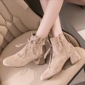 短靴 馬丁靴女秋季新款秋款百搭英倫風粗跟網紅高跟增高短靴子 - 歐美韓熱銷